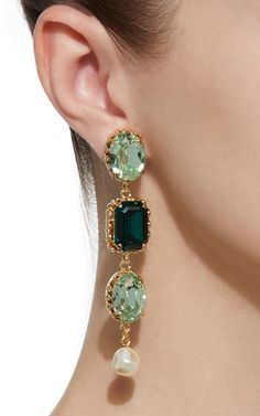 These earrings by **Dolce & Gabbana** feature a three stone drop construction with sparkling crystals and faux pearl drops. Jewelry Design Earrings, Ear Jewelry, Diy Earrings, Vintage Earrings, Fine Jewelry, Unique Jewelry, Imitation Jewelry, Ancient Jewelry, Marni