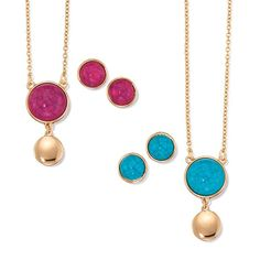 Go bold! Play up your assets and master this hot trend! Goldtone necklace with matching earrings, with your choice of either turquoise or pink marble-like cabachon stone. Regularly $19.99, shop Avon Jewelry online at http://eseagren.avonrepresentative.com
