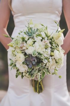Natural wedding bouquet - white + greenery bouquet with gardenias, ranunculuses, succulents and other flowers {Randy + Ashley}