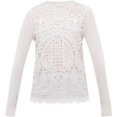 Ted Baker Anlise Geometric Lace Front Jumper, Nude Pink (310 BGN) ❤ liked on Polyvore featuring tops, sweaters, nude pink, round neck sweater, white jumper, lace up top, long sleeve tops and white long sleeve sweater