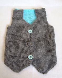 Baby Boy Hand knitted Waistcoat Jacket Grey and Blue 0 to 3 months