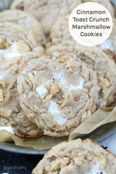 These Cinnamon Toast Crunch Marshmallow Cookies are a super soft and chewy, ooey. - slredding - These Cinnamon Toast Crunch Marshmallow Cookies are a super soft and chewy, ooey. Delicious Cookie Recipes, Easy Cookie Recipes, Yummy Cookies, Baking Recipes, Sweet Recipes, Dessert Recipes, Cake Cookies, Mini Cookies, Thumbprint Cookies