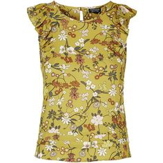 TopShop Garden Ruffle Shell Top (3.275 RUB) ❤ liked on Polyvore featuring tops, mustard, ruffle tank top, sleeveless tank tops, floral print tank, ruffle top and shell tops