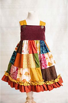 Patchwork Dress - Persnickety Clothing - I want to make a dress like this for all 3 girls! Love it!