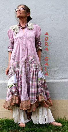 AuraGaia Rose Mallow 3pc Duster Dress, Camisole Top & Bloomer Pant Upcycled Tattered Raw Poorgirl Mori Boho Artisan S-XL
