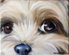 paintings of yorkies | ... yorkshire terrier teacup puppy dog oil painting YORKIE art ORIGINAL