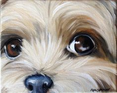 paintings of yorkies | ... yorkshire terrier teacup puppy dog oil painting YORKIE art ORIGINAL