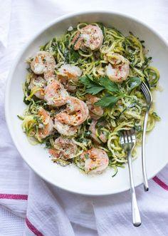 Shrimp Scampi with Zucchini Noodles. Shrimp Scampi with Zucchini Noodles - at only 356 calories per serving! Scampi Recipe, Vegan Meal Prep, Dessert, Zucchini Noodles, Healthy Eating, Healthy Nutrition, Paleo Diet, Healthy Food, Keto