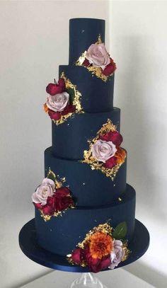 wedding cakes blue dark blue wedding cake, elegant wedding cakes, four tier wedding cake Wedding Cakes With Flowers, Elegant Wedding Cakes, Elegant Cakes, Wedding Cake Designs, Blue Wedding Cakes, Pretty Cakes, Beautiful Cakes, Artist Cake, Bolo Cake