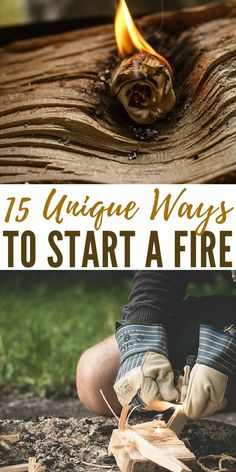 15 Unique Ways to Start a Fire - Simple. You slowly grind your lighter against a smooth patch of concrete until you accumulate a pile of dust from the flint stick in the lighter. Then you combine that with some tinder, use the lighter to throw a spark at it, and it should easily catch fire. #howtostartafire #fire #camping #preparedness