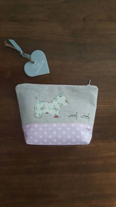 Westie dog applique make up bag using machine free- motion embroidery, Toiletry bag, Zip-Pouch, wash bag, cosmetic case GBP9.00 by CurlyEmmaEmbroidery on Etsy