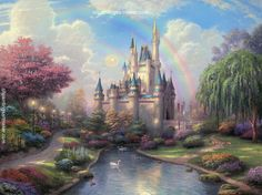 Thomas Kinkade A New Day at the Cinderella Castle modern painting sale, painting Authorized official website