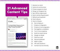Get the Most From One Blog Post: 21 Advanced Content Tips by Kevan Lee