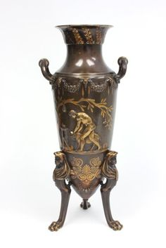 Figural bronze footed Barbedienne vase : Lot 254A