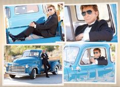 Barry Manilow in and around a 1950's Chevrolet pickup truck.