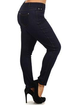 Blue Denim Stretchy Plus Size Jeggings