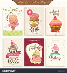 Collection Of Bakery Flyers Or Menu Cards Decorated With Sweet Ice-Cream, Donuts And Cupcakes. Stock Vector Illustration 274132892 : Shutterstock