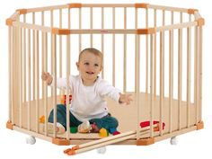 Parc en bois bébé octogonal COMBELLE