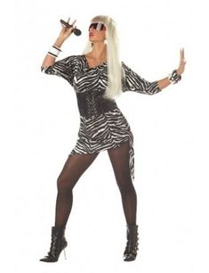 Adult Video Vixen Women Costume - Video Vixen Costume includes zebra printed mini dress with thick corset-style black belt. Best Female Halloween Costumes, Lady Gaga Halloween Costume, 80s Costume, Costume Ideas, Halloween 2013, Adult Halloween, Singer Costumes, Girl Costumes, Adult Costumes