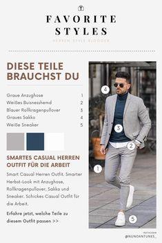 Erfahre welche Teile dazu passen! Smart Casual Herren Outfit. Smarter Look mit Anzughose, Rollkragenpullover, Sakko und Sneaker. Schickes Casual Outfit für die Arbeit. Zusammen mit einem Trenchcoat ein ideales Outfit für den Herbst. Outfits für Männer mit passenden Teilen bei Favorite Styles. #favoritestyles #mode #fashion #outfit #männer #herren #style #stil #männermode #herrenmode #mensoutfit #mensfashion #ideen #inspiration #smart #business #arbeit #anzug