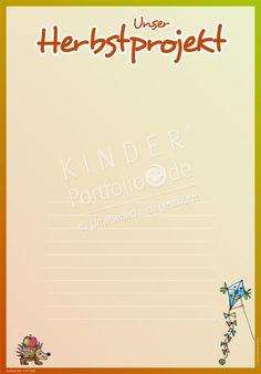 """Kindergarten Portfolio Vorlagen """"Unser Herbstprojekt"""""""