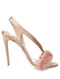 Olgana Paris's nude-pink satin L'Amazone sandals are an elegant combination of delicate silhouette and whimsical details. They're crafted with an asymmetric strap that snakes flatteringly across the foot, slick gold-tone chain detail, and a dusty-pink mink-fur front. The high stiletto heel offsets this season's floaty sundresses perfectly. | Available at MATCHESFASHION.COM