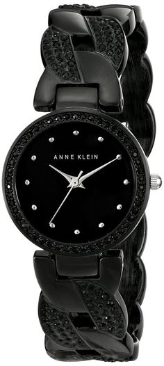 Anne Klein Women's AK/1833BKBK Swarovski Crystal-Accented Black Cuff Bangle Watch