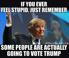 To even consider voting yet alone vote for Trump, you must be one of two things: brain washed or unfortunately; improperly educated to vote for Trump. #NeverTrump