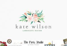 Watercolor Bouquet Logo Design - website logo, blog logo, boutique logo, creative business branding or small business logo.