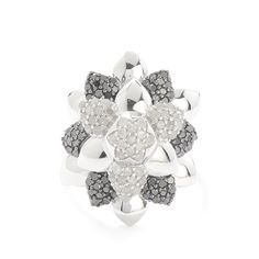 1ct Black & White Diamond Sterling Silver Ring | SJKS98 | Gemporia