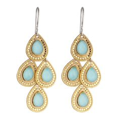 Anna Beck: Gili: Wire Rimmed Turquoise Chandelier Earrings - Gold