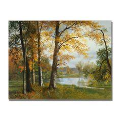 "Trademark Fine Art ""A Quiet Lake"" by Albert Bierstadt Painting Print on Canvas"