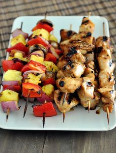 Grilled Honey Chicken and Veggie Kebabs  ~ sub coconut aminos ---- this but with shrimp