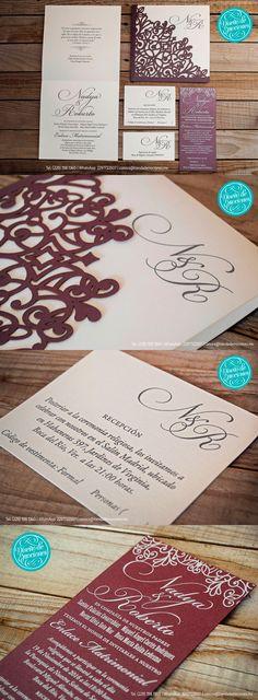 Tenemos una obsesiva compulsión por cuidar los detalles, porque amamos lo que hacemos y ponemos el corazón en cada uno de nuestros proyectos, con la misma pasion que le dedicaríamos a nuestra propia boda <3 ¡y para muestra, las hermosas invitaciones de Nadya y Roberto! #invitacion #boda, #wedding #formal #clasica #cortelaser #lasercut #serigrafia #elegante #bride #emociones