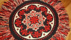 Vintage round wool hand loomed table topper red-Indigo-cream with fringe~