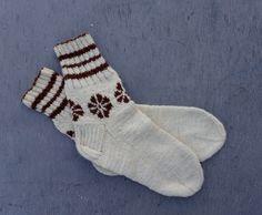 hand knitted wool socks,white brown stockings, natural wool leg warmers, handknit women socks, men socks, knit clothing, slippers by peonijahandmadeshop on Etsy