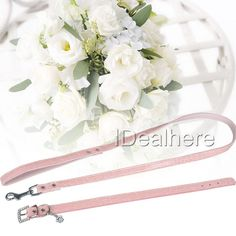 Leatherette Dog Collars & Leads for Dog Collar & Matching Leash Set Pink