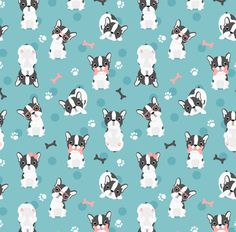 Frenchie Fabric Frenchie Mint And Pink French Bulldog By