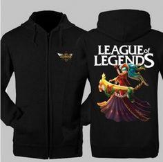 League of Legends Sona zip hoodies for men XXXL college sweatshirts