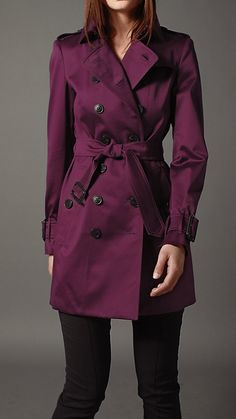 Hey a girl can dream!  Mid-Length Cotton Sateen Trench Coat | Burberry