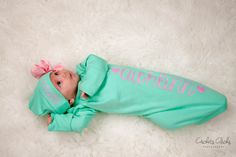 Baby Girl aqua name gown.newborn girl by TheNewBabyBoutique