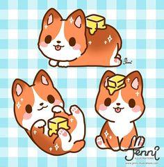 🐶 Corgi Butter Loaf!!! 😆 SO CUTE!!!!! 💕💕💕 Chibi Kawaii, Kawaii Doodles, Cute Doodles, Cute Chibi, Kawaii Anime, Cute Kawaii Animals, Cute Animal Drawings Kawaii, Arte Do Kawaii, Kawaii Art
