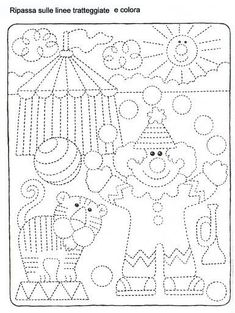 Schede_didattiche_Carnevale Shapes Worksheets, Tracing Worksheets, Preschool Worksheets, Preschool Activities, Art Drawings For Kids, Drawing For Kids, Art For Kids, Crafts For Kids, Preschool Circus