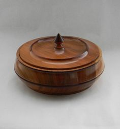 vintage turned wood bowl lidded with cool knob top by FlumeStreet
