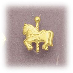 Simply Whispers hypoallergenic and nickel free Jewelry pierced earrings Gold Horse tiny Carousel