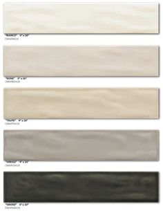 Cactus Stone and Tile Series - Aria Subway Tile 4 x 20 5 Colors Bathroom Color Schemes, Colour Schemes, Color Palettes, Beige Tile Bathroom, Grey And Beige, Black And White, Black Bedroom Decor, Beige Kitchen, Boy Bath