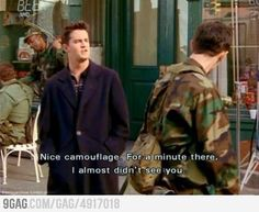 Chandler's sarcasm at it's best. Never gets old