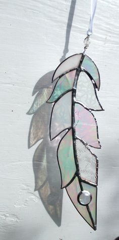 """Stained Glass Feather Sun Catcher,Window Art,Mixed White & Etched,Silver Patina Finish,Wedding,Bird,Angel,Memorial,Winter,Birthday Gift,10"""""""