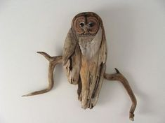 This one of a kind sculpture is made from driftwood, with sculpted Ebony for the eyes.I have respectfully collected the driftwood from various lakes in Maine. Aside from being throughly cleaned, it Driftwood Sculpture, Outdoor Sculpture, Driftwood Art, Painted Driftwood, Driftwood Beach, Driftwood Projects, Driftwood Ideas, Wood Creations, Beach Crafts