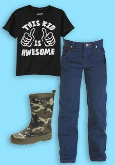 Keep your boys looking cool with boots, a humor tee, and Wrangler jeans from #Walmart.   Outfit made with the #Walmart Back to School Closet Creator.  Check it out and make your own at http://www.walmart.com/backtoschoolcloset